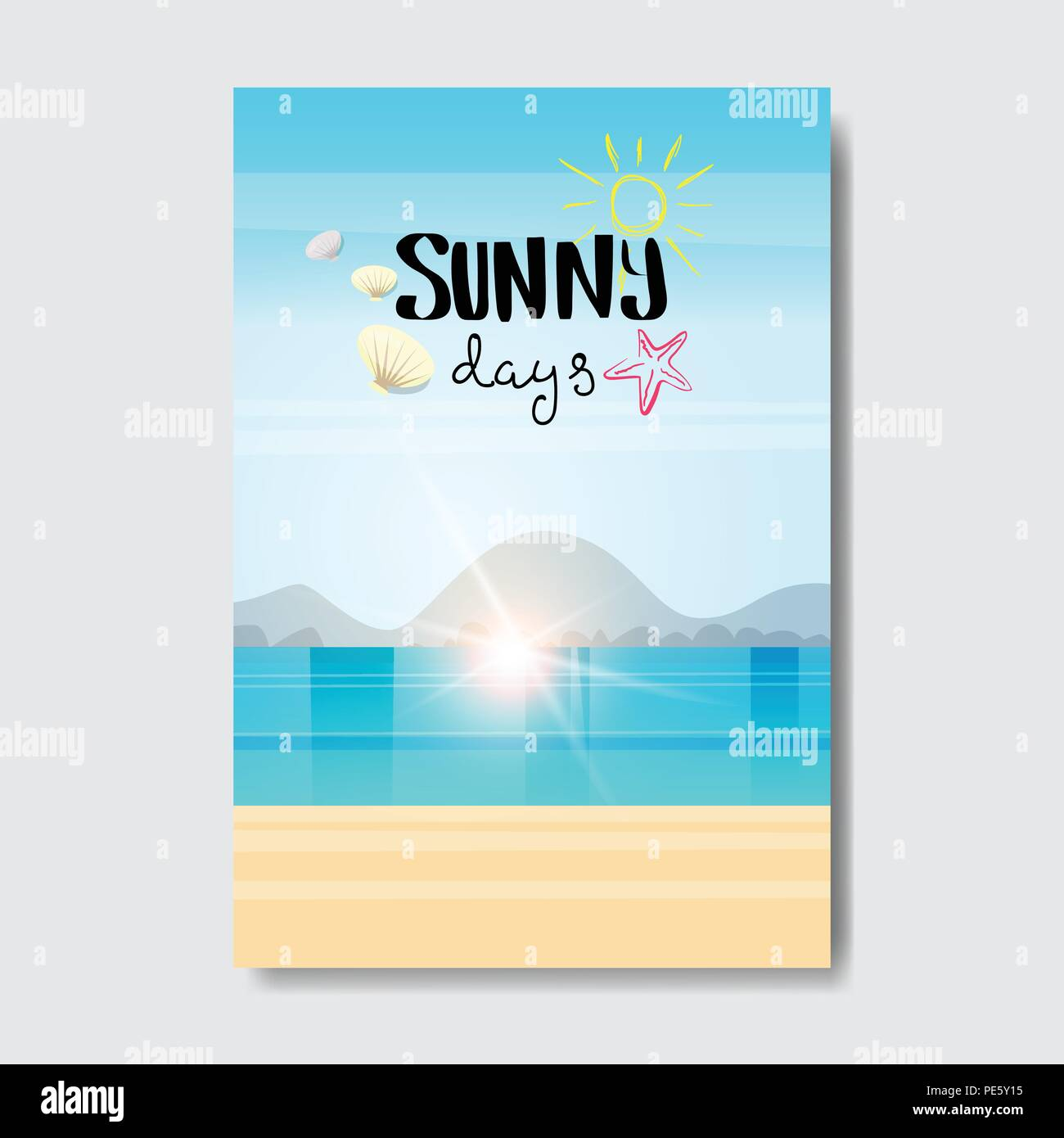 summer beach landscape sunrise badge design label season holidays