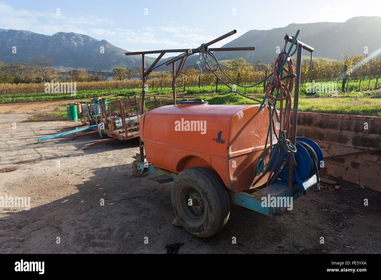 Vineyard Equipment For Spraying The Vineyards Parked Outdoors On The