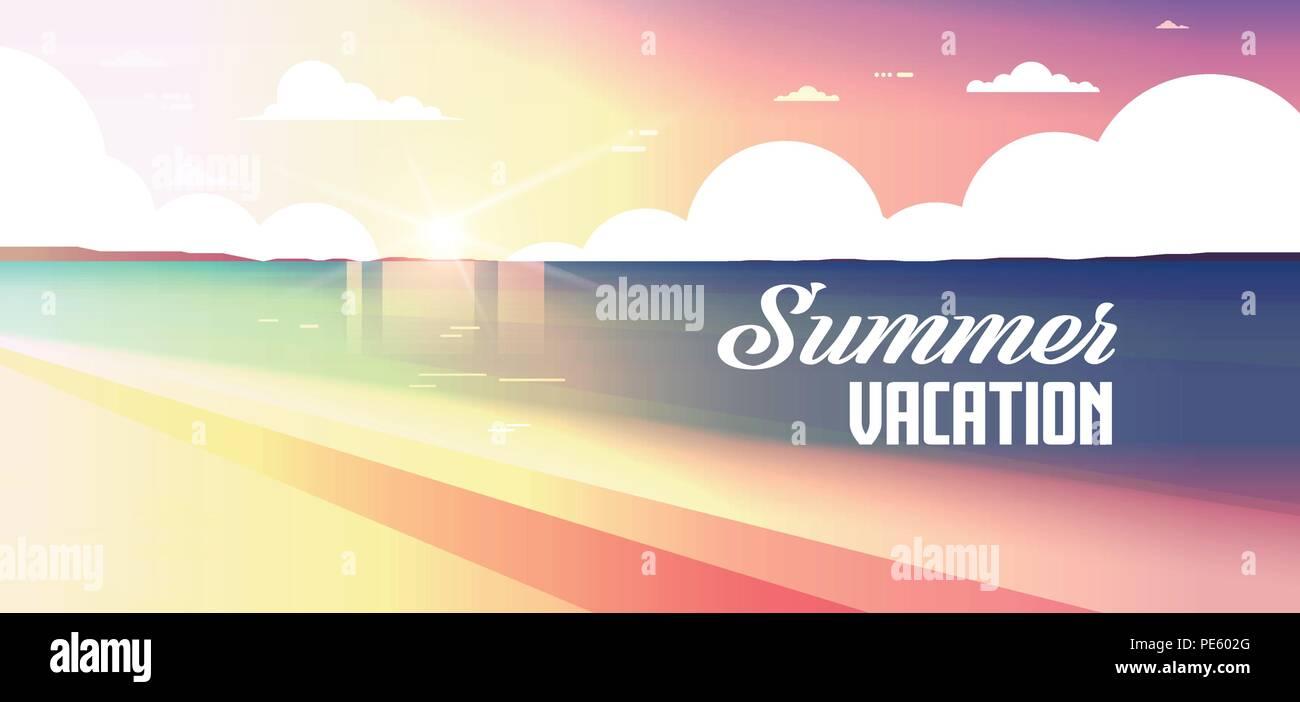 sunset beach view summer vacation seaside sea ocean flat banner lettering - Stock Vector
