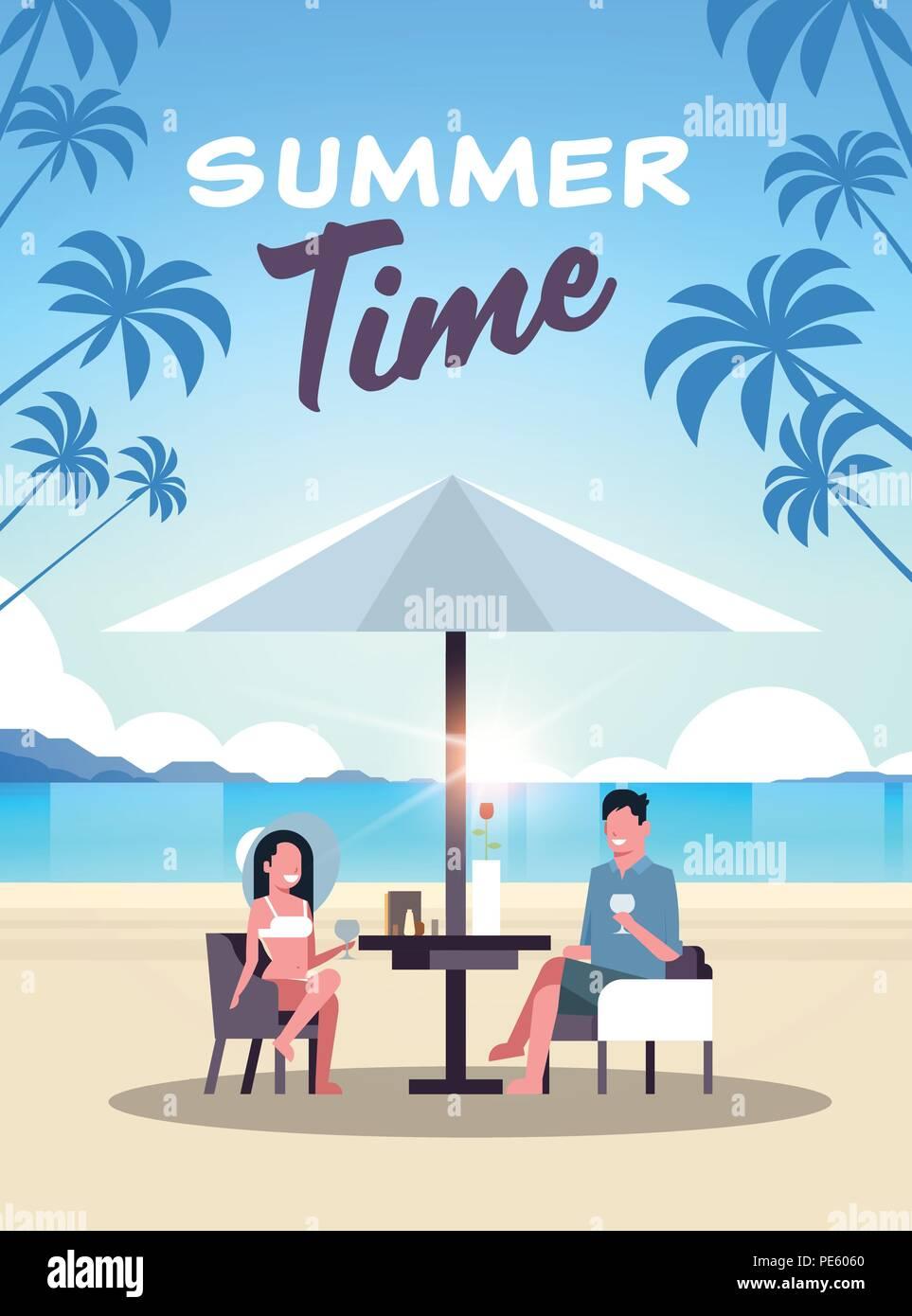 couple summer vacation man woman drink wine umbrella on sunrise beach tropical island vertical flat - Stock Vector