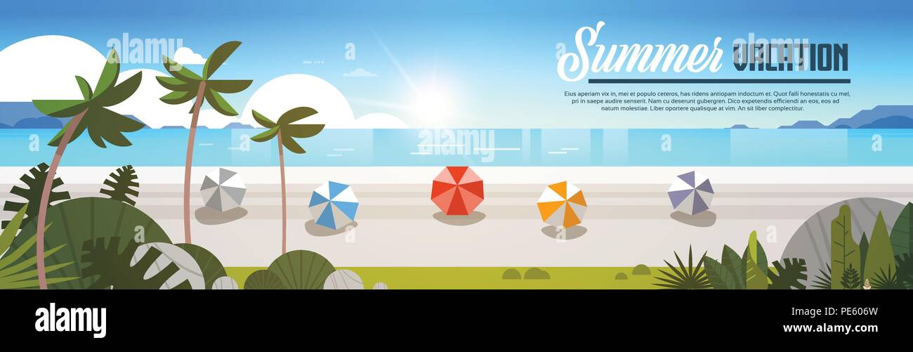 sunrise tropical palm beach balls view summer vacation seaside sea ocean flat banner horizontal copy space - Stock Vector