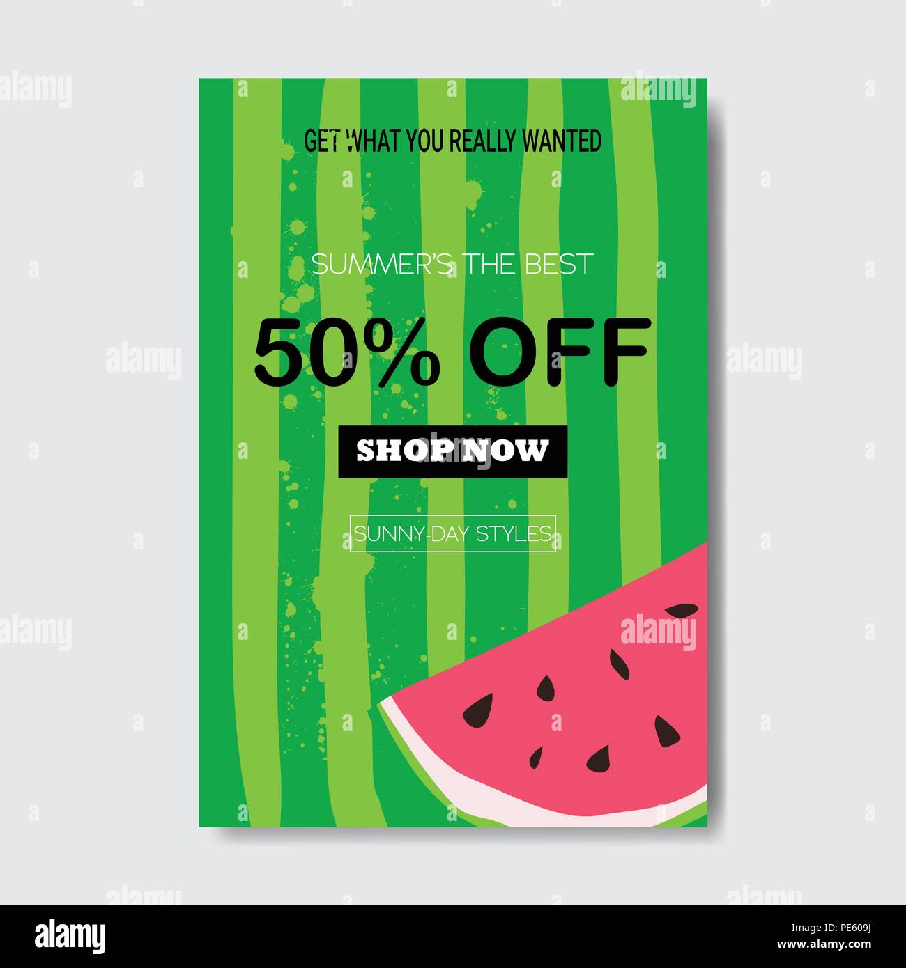 summer sale watermelon lettering badge design label season shopping