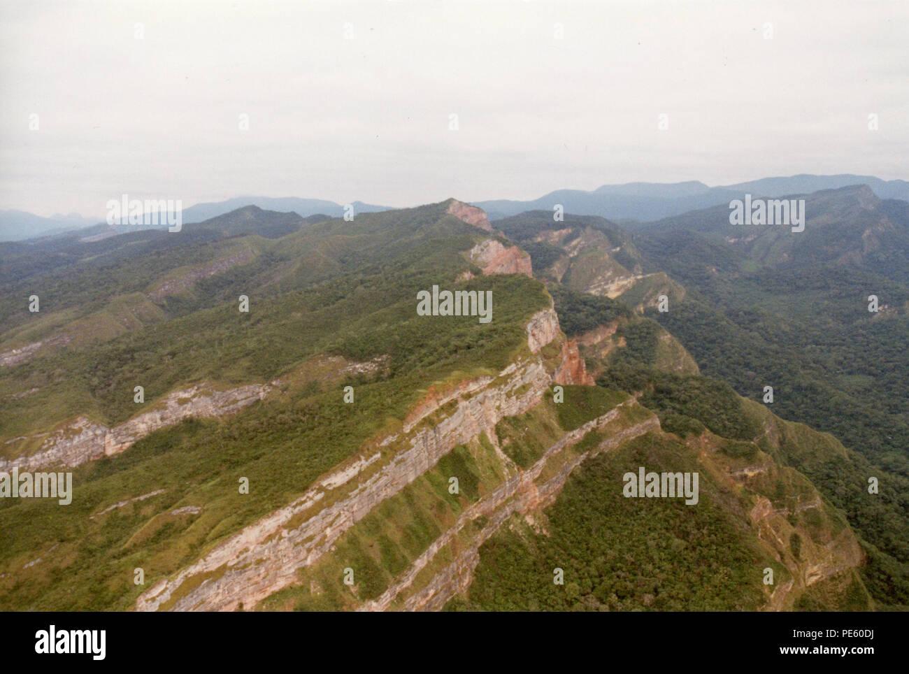 Aerial snapshot of grassy mountains. - Stock Image