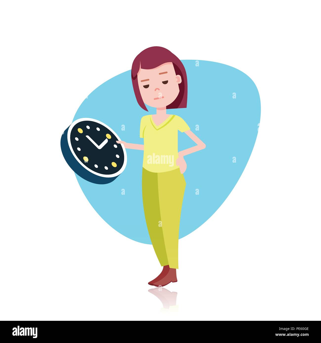 Woman Character Holding Wall Clock Template For Design Work Or