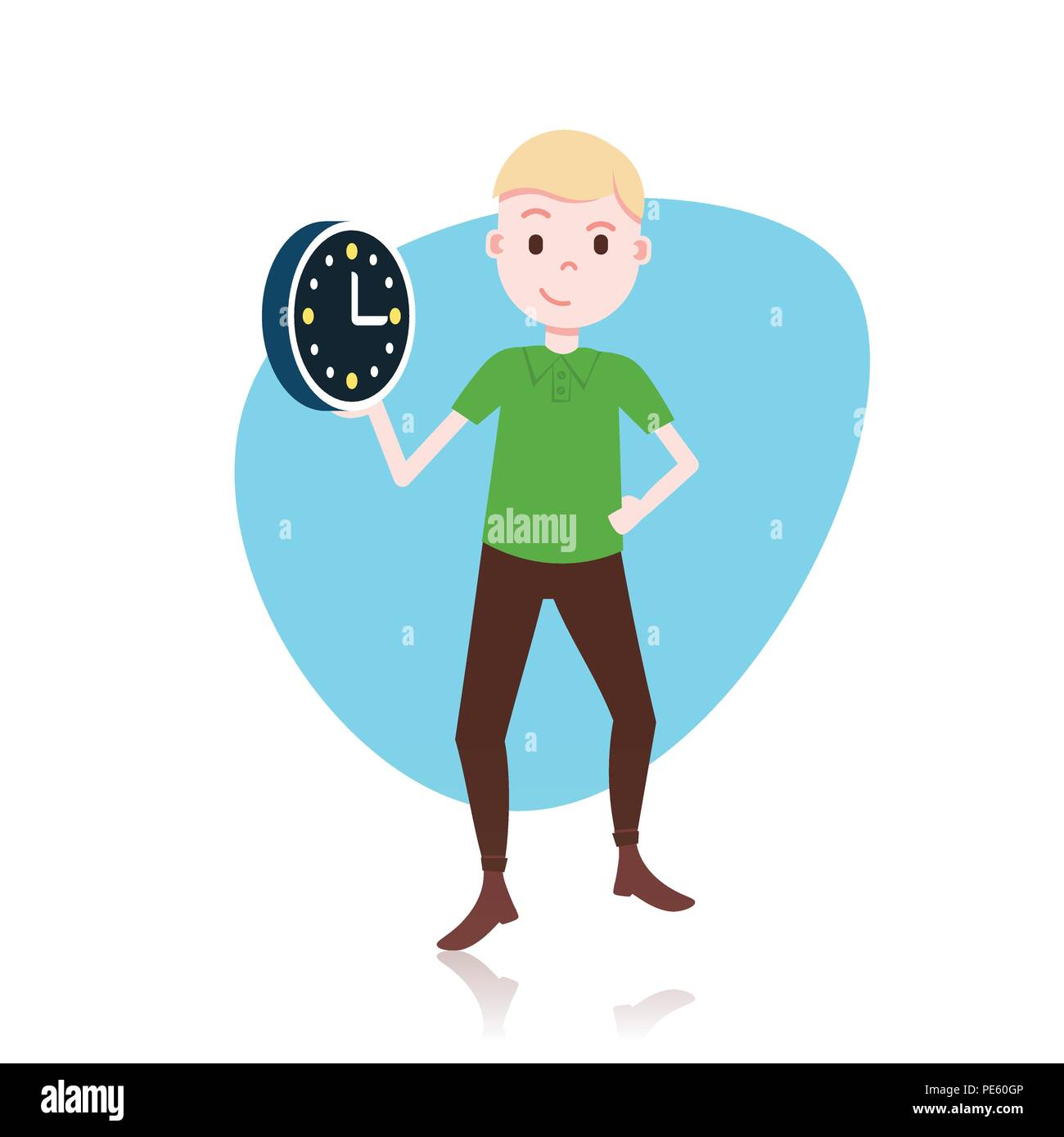 Man Character Holding Wall Clock Template For Design Work Or