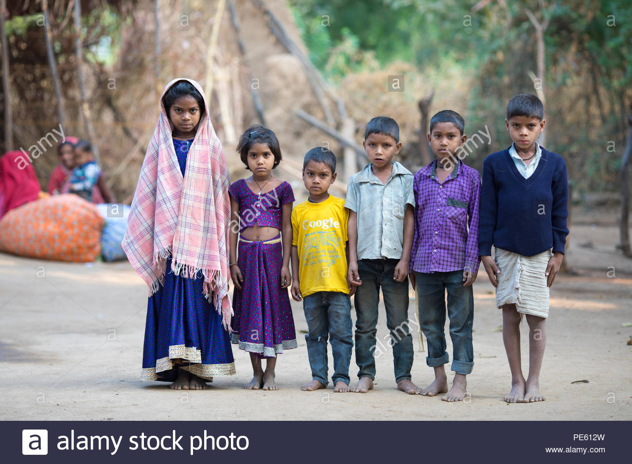 SARUPGANJ, RAJASTHAN, INDIA - JAN 09, 2017 ; An unidentified Indian Children in Village happy to poses for camera, Sarupganj, Rajasthan-India on Jan 0 - Stock Image