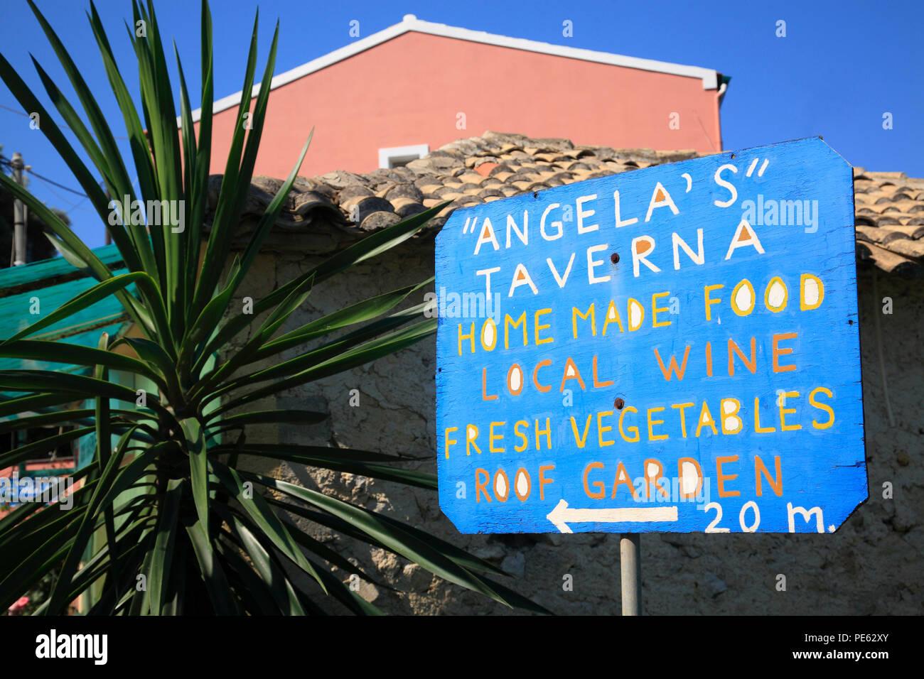 Pentati, Angelas Tavern, Corfu, Greece, Europe - Stock Image