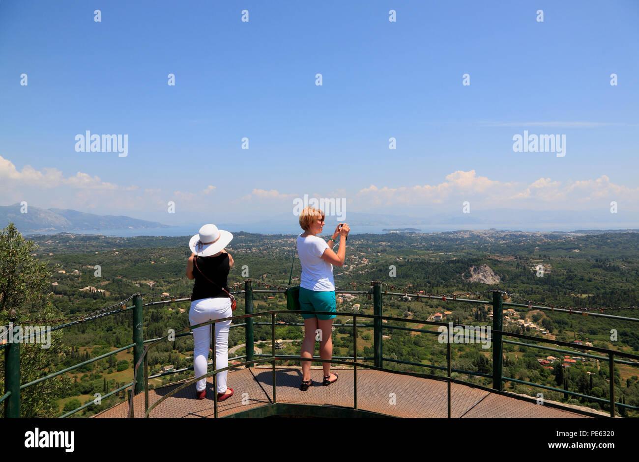 Outlook Kaisers Throne, Pelekas, Corfu, Greece, Europe - Stock Image