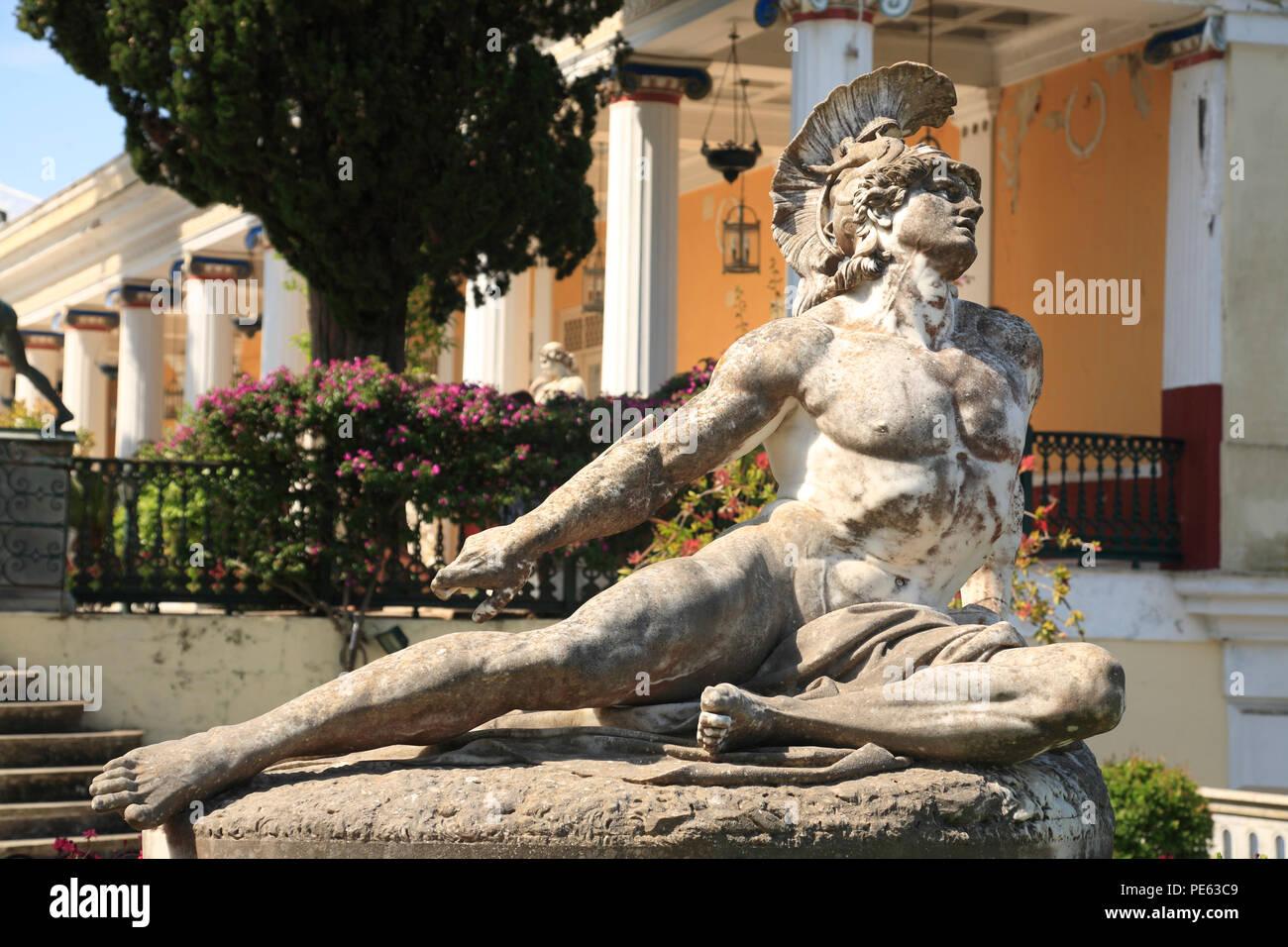 Achill monument, Achilleion, Benitses, Corfu, Greece, Europe - Stock Image