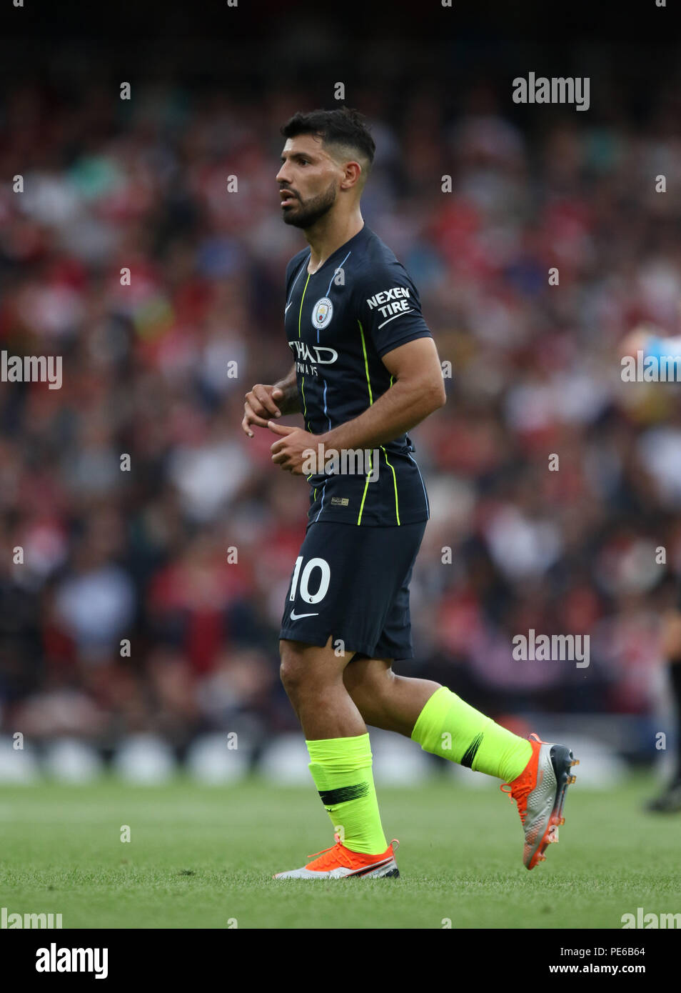 12th Aug 2018. Sergio Aguero (MC) at the Arsenal v Manchester City English  Premier League game at The Emirates Stadium c1fcd84fb1f
