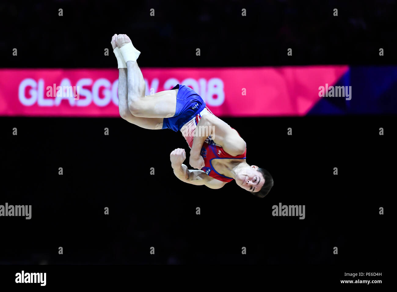 Glasgow, Scotland, UK. 12th August 2018. competes on the Floor Exercise in Men's Artistic Gymnastics Apparatus Finals during the European Championships Glasgow 2018 at The SSE Hydro on Sunday, 12  August 2018. GLASGOW SCOTLAND. Credit: Taka G Wu - Stock Image