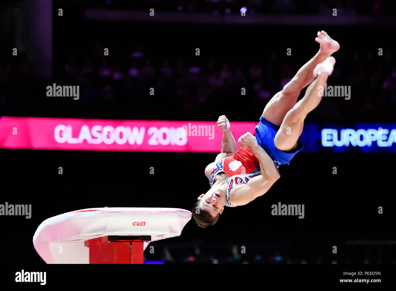 Glasgow, Scotland, UK. 12th August 2018. LANKIN Dmitrii (RUS) competes on the Vault in Men's Artistic Gymnastics Apparatus Finals during the European Championships Glasgow 2018 at The SSE Hydro on Sunday, 12  August 2018. GLASGOW SCOTLAND. Credit: Taka G Wu - Stock Image