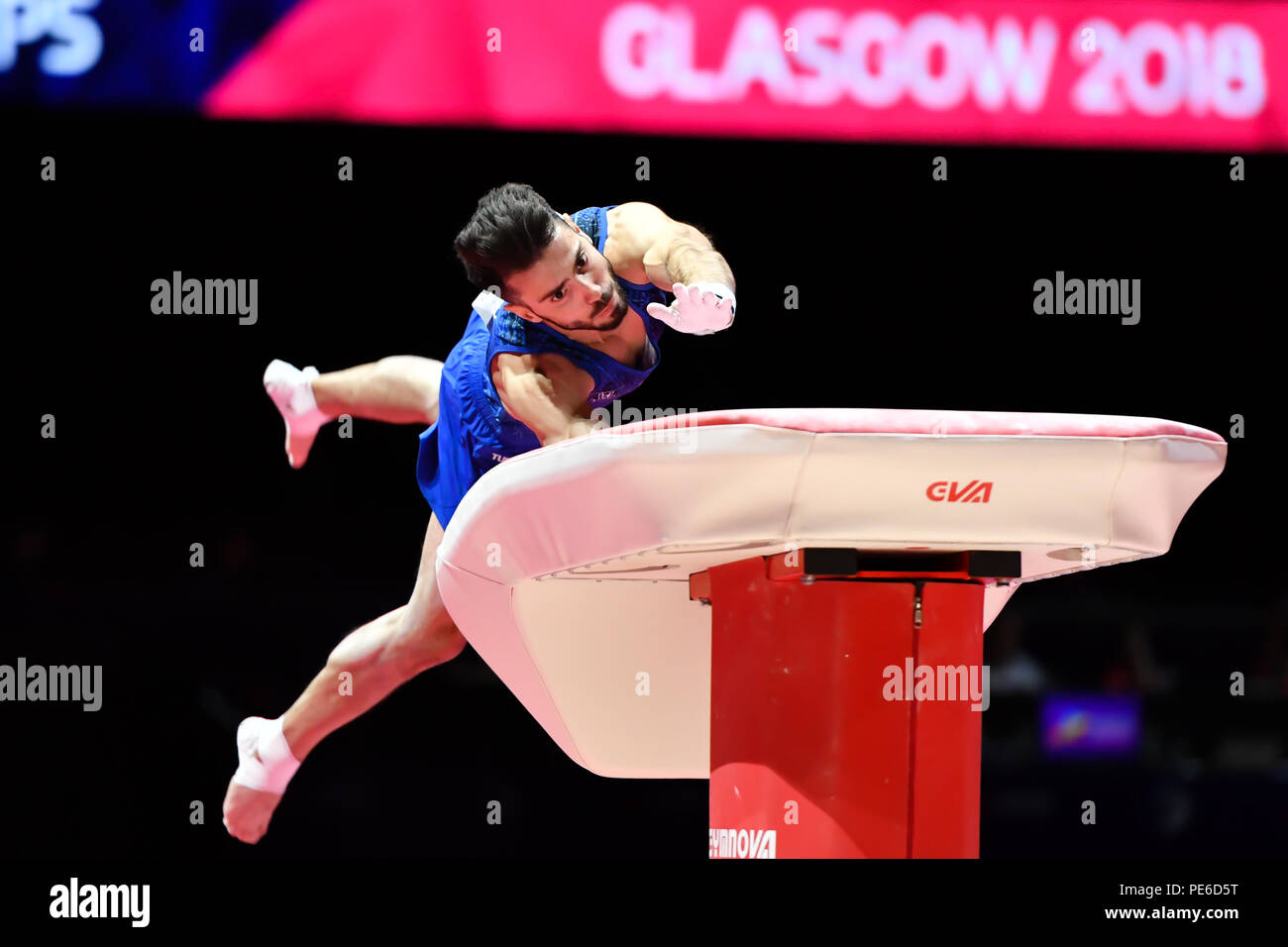 Glasgow, Scotland, UK. 12th August 2018. MEDVEDEV Andrey (ISR) competes on the Vault in Men's Artistic Gymnastics Apparatus Finals during the European Championships Glasgow 2018 at The SSE Hydro on Sunday, 12  August 2018. GLASGOW SCOTLAND. Credit: Taka G Wu - Stock Image