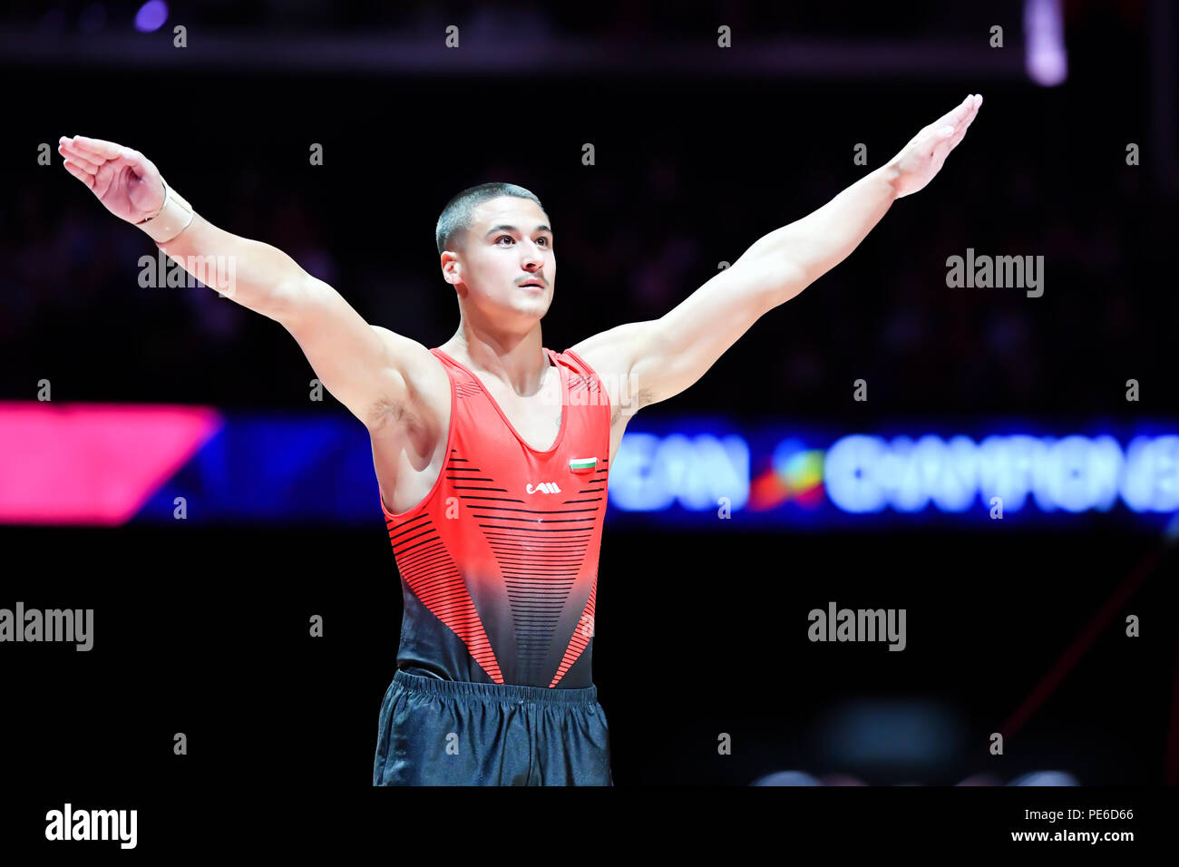 Glasgow, Scotland, UK. 12th August 2018. competes on the Vault in Men's Artistic Gymnastics Apparatus Finals during the European Championships Glasgow 2018 at The SSE Hydro on Sunday, 12  August 2018. GLASGOW SCOTLAND. Credit: Taka G Wu - Stock Image