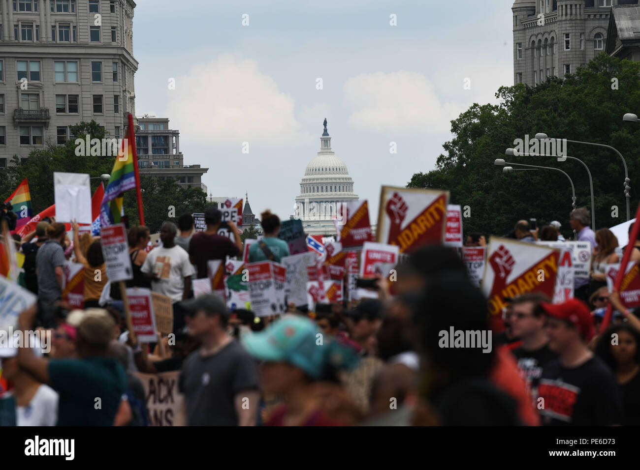 Washington, USA  12th Aug, 2018  Protesters gather at the freedom