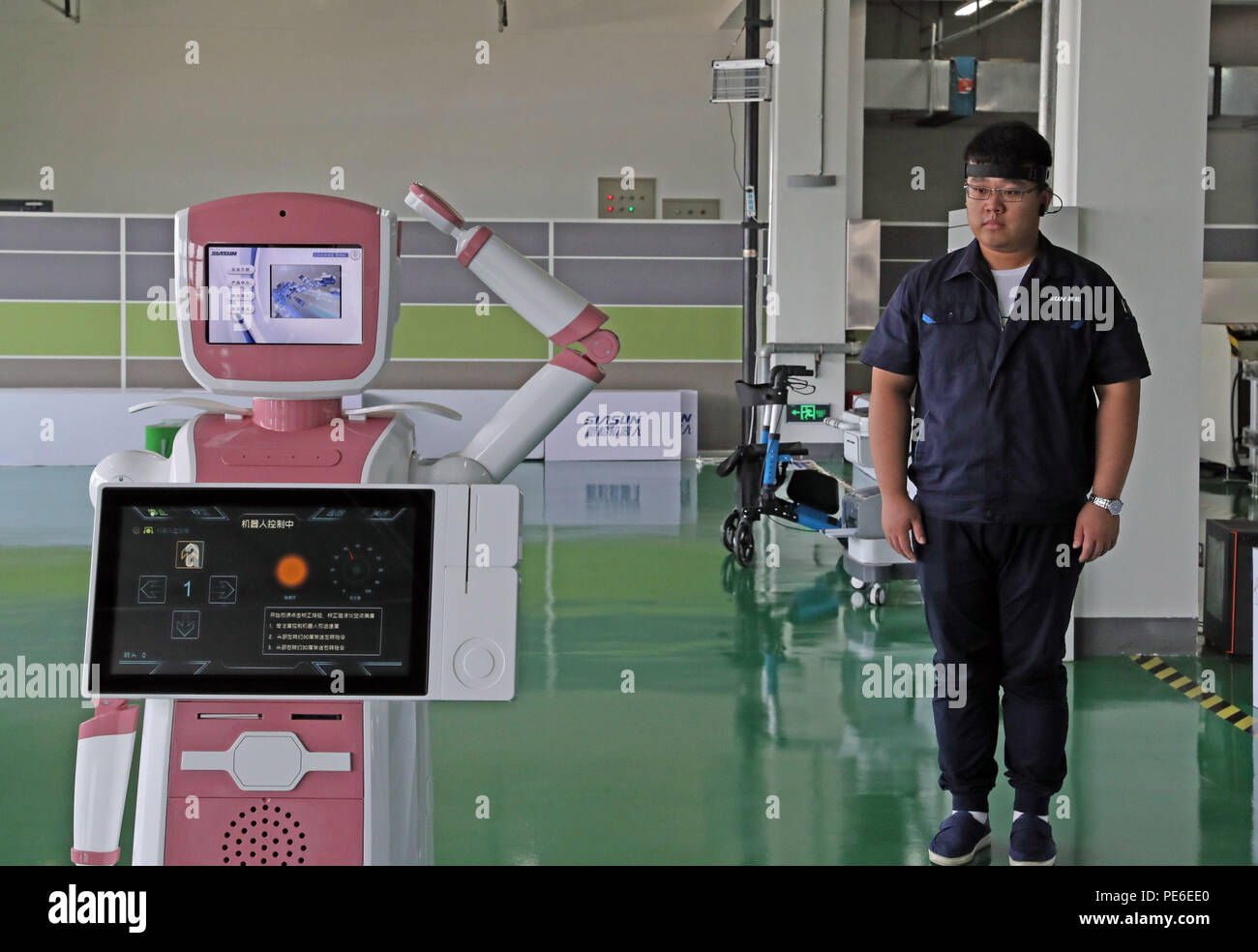 Shenyang. 16th July, 2018. Photo taken on July 16, 2018 shows a brainwave control robot at a factory of SIASUN in Shenyang, capital of northeast China's Liaoning Province. In recent years, by developing robots and intelligence industry, Shenyang has become a new engine for economic reform and upgrading in Liaoning. Credit: Yang Qing/Xinhua/Alamy Live News Stock Photo
