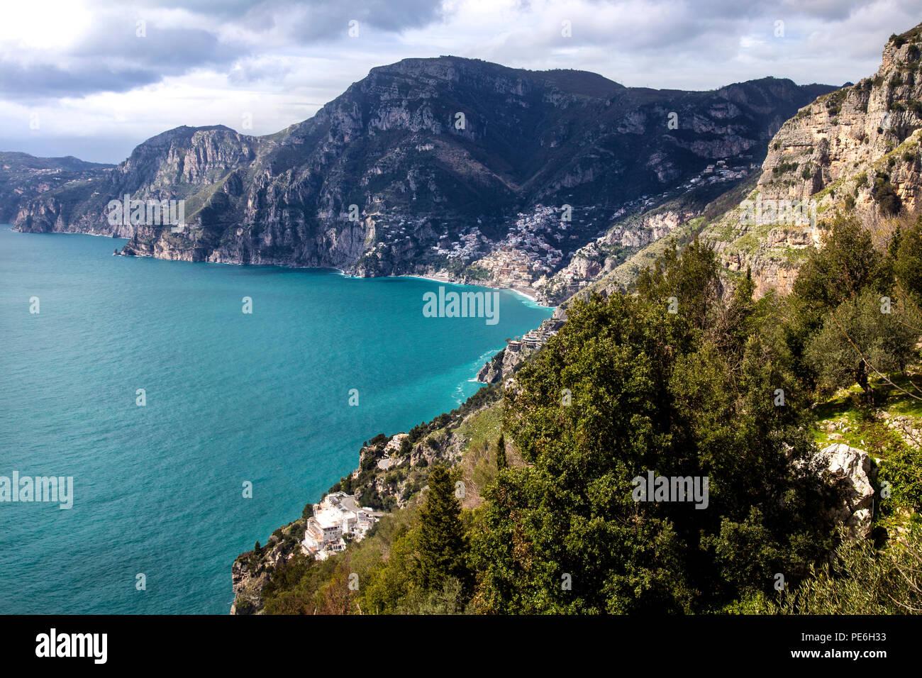 Sea and mountains near Praiano in the Amalfi Coast, Italy - Stock Image