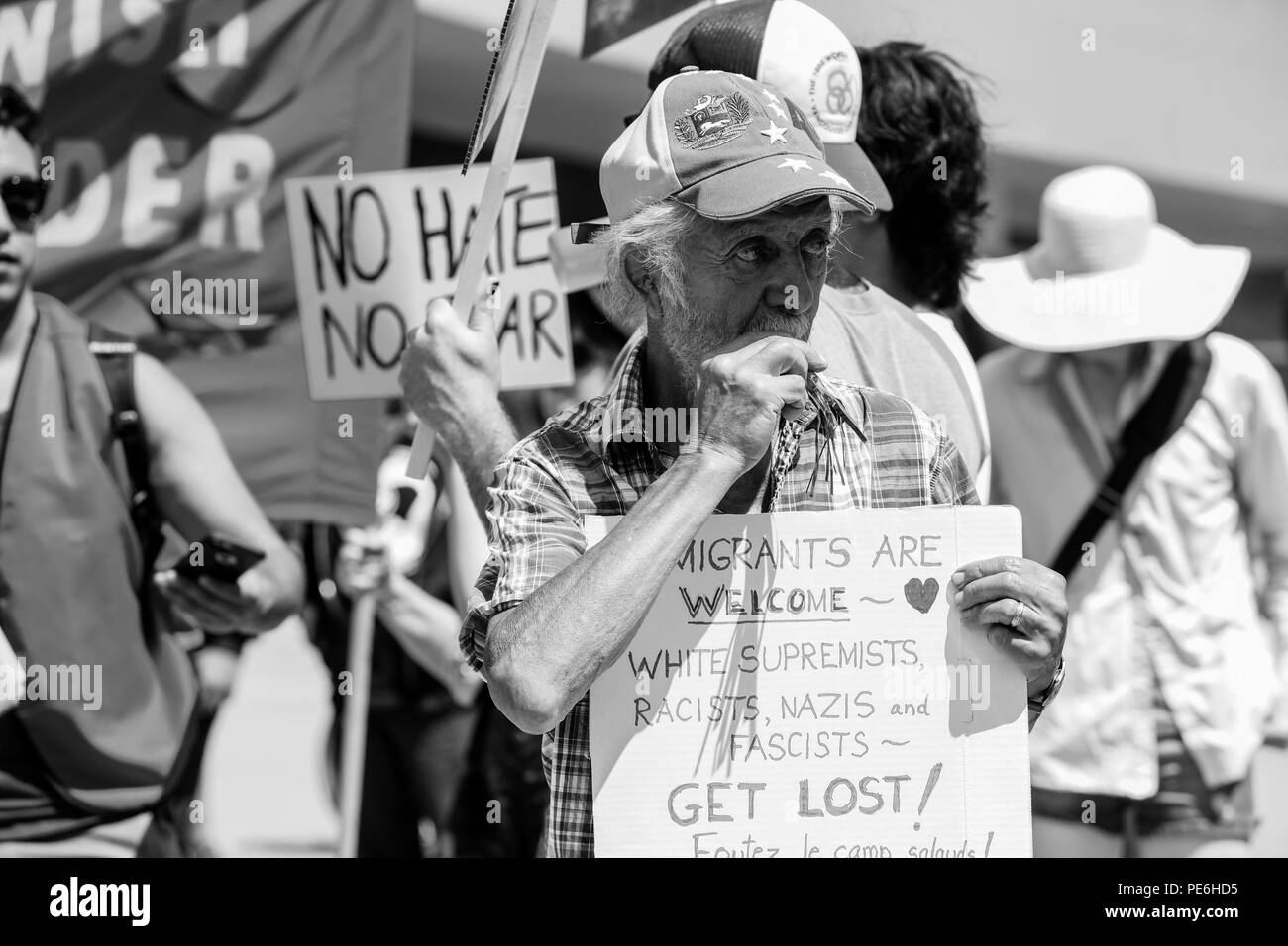 AUGUST 11, 2018 - TORONTO, CANADA: 'STOP THE HATE' ANTI RACISM RALLY. Stock Photo