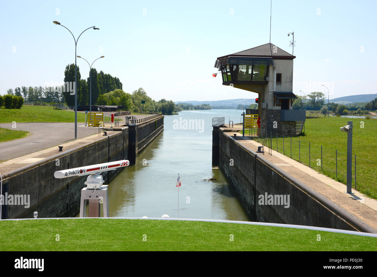 Lock on the River Saone, France - Stock Image