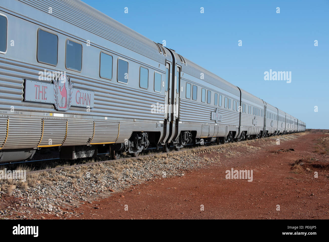 Australia, South Australia, Manguri train stop. The Ghan sightseeing train stopped in Manguri to visit Coober Pedy. Editorial use only. - Stock Image