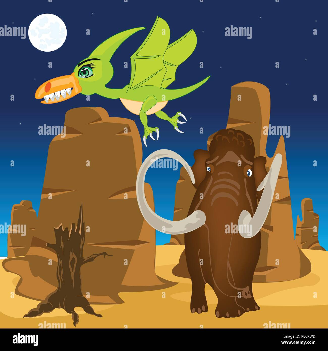 Vector illustration prehistorical animal on nature.Dinosaur and pterodactyl - Stock Image