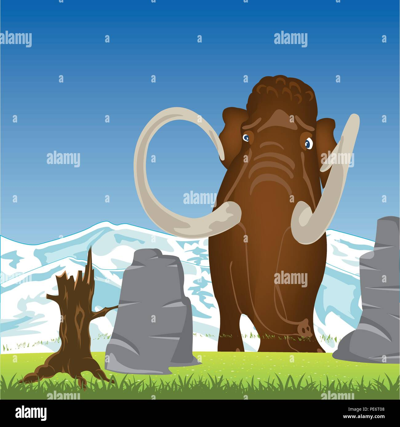 Mammoth on glade.Prehistorical animal mammoth on green glade - Stock Image