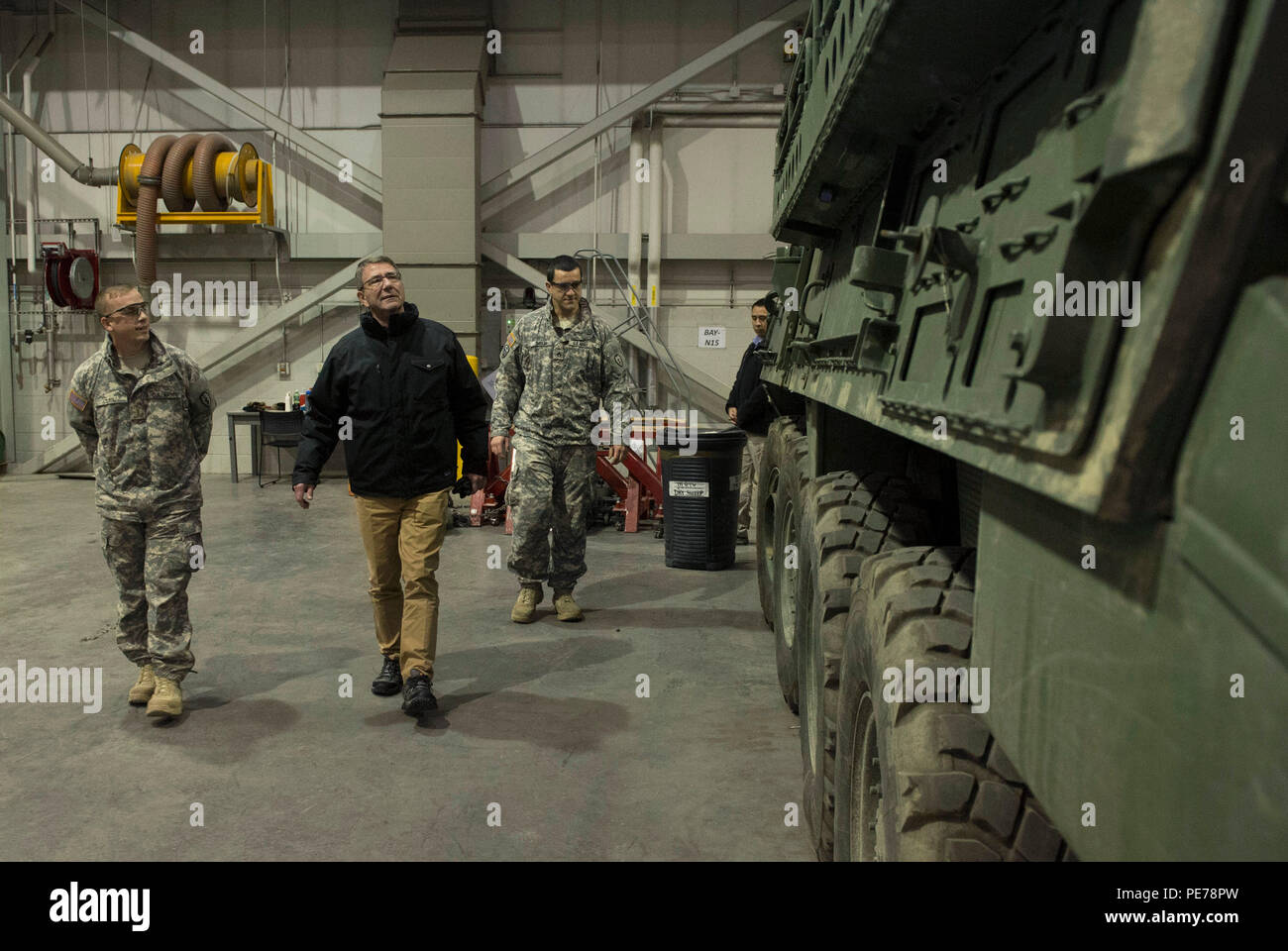 Secretary of Defense Ash Carter tours a Stryker vehicle as he visits with  soldiers of the 1st Stryker Brigade Combat Team 25th Infantry Division  during a ...