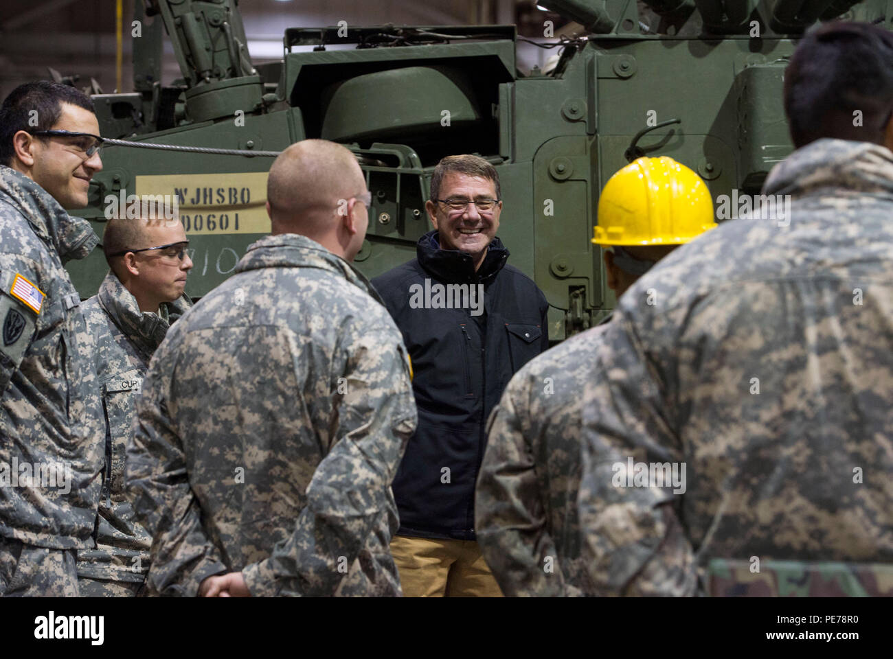 Secretary of Defense Ash Carter visits with soldiers of the 1st Stryker  Brigade Combat Team 25th Infantry Division as he tours stryker vehicles at  Fort ...