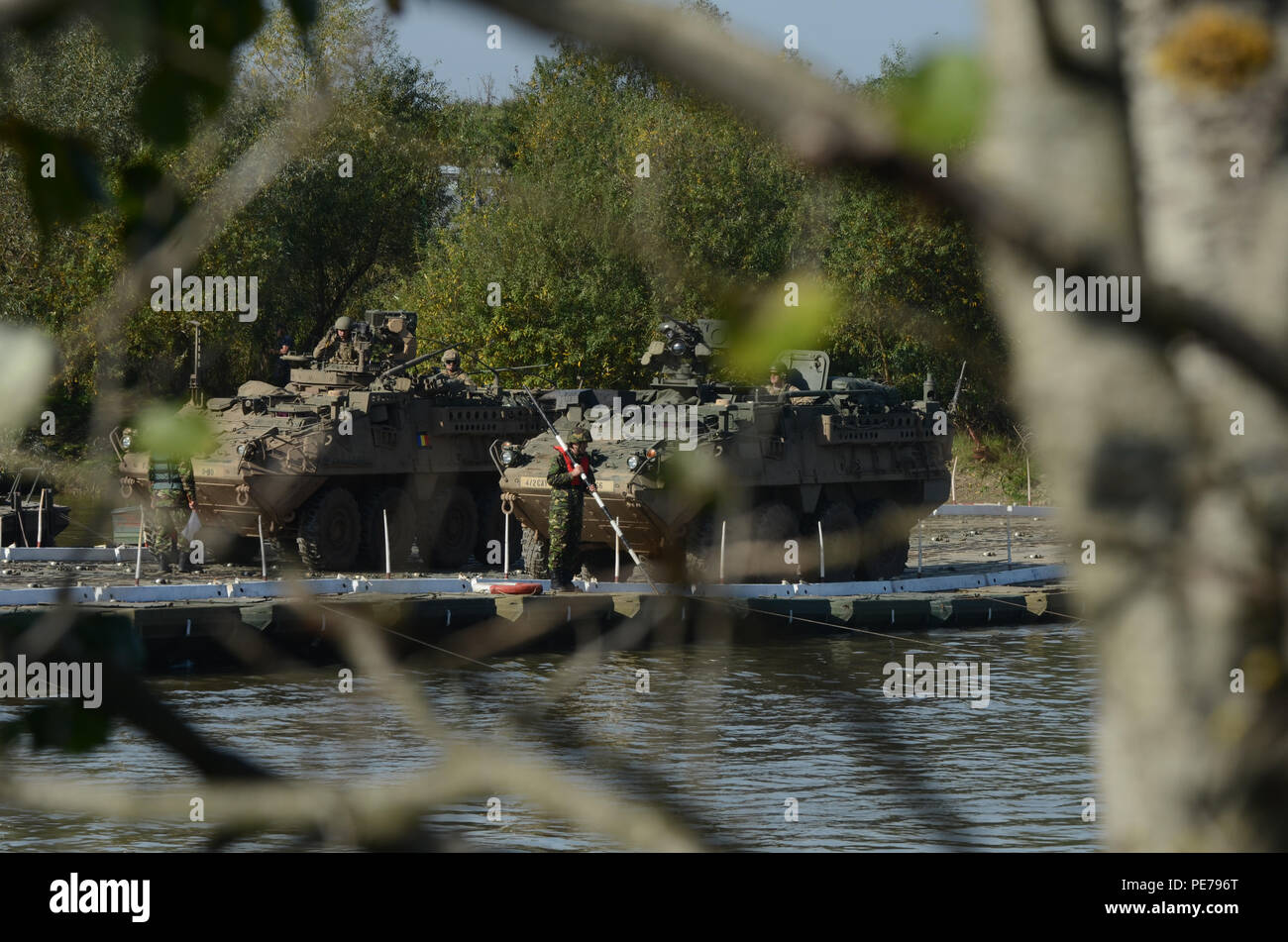 Infantry Carrier Variants (Strykers), cross the Mures River on the bridge that the Romanian Army pieced together during Exercise Dragoon Crossing – Romania, Oct. 24-26, 2015. Dragoon Crossing – Romania is a strengthening of NATO's persistent presence in the region in support of Operation Atlantic Resolve.  (U.S. Army photo by Staff Sgt. Steven M. Colvin/10th Press Camp Headquarters) - Stock Image