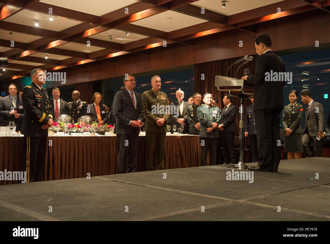 Republic of Korea Minister of Defense Minkoo Han delivers remarks during the Security Consultative Meeting reception in Seoul, South Korea, Nov. 1, 2015. (Photo by Senior Master Sgt. Adrian Cadiz)(Released) Stock Photo