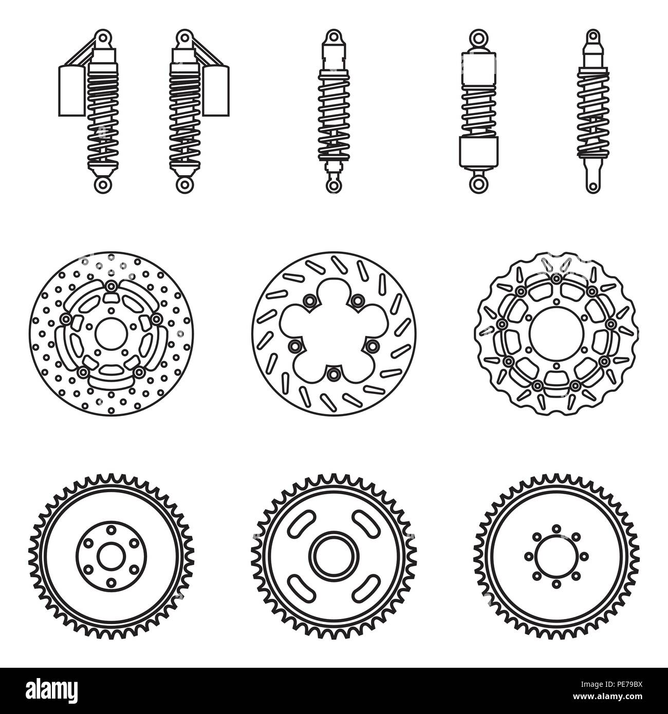 Various types of motorcycle parts  Suspension and brake