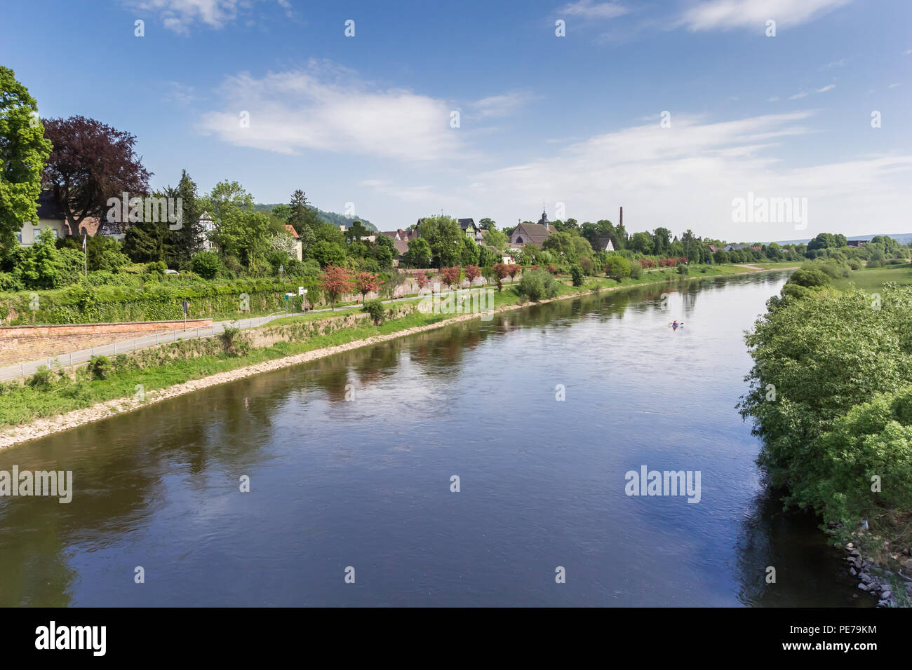 Weser river and historic city Hoster, Germany Stock Photo