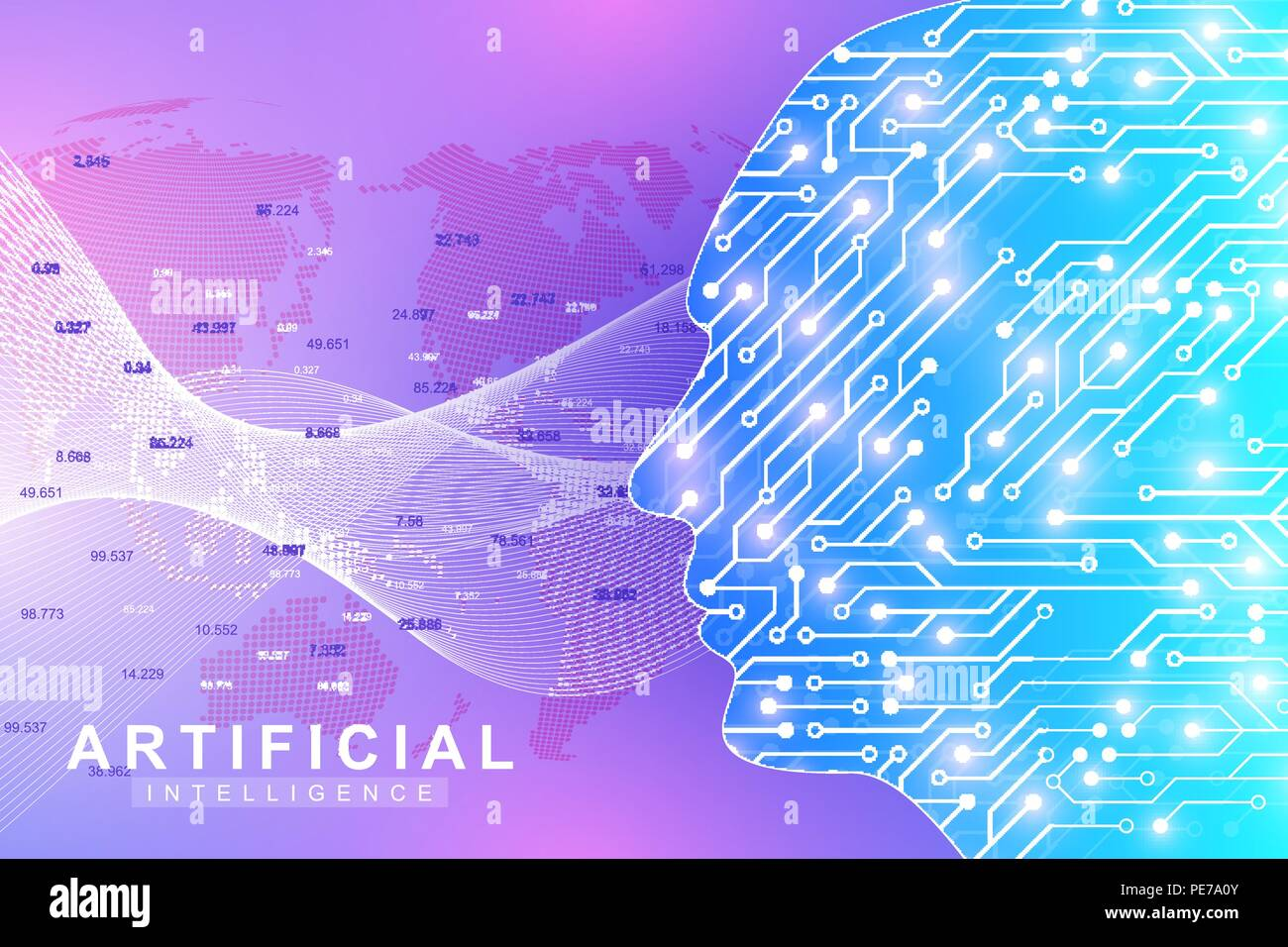 Futuristic Artificial Intelligence and Machine Learning Concept. Human Big Data Visualization. Wave Flow Communication, Scientific vector illustration. Stock Vector