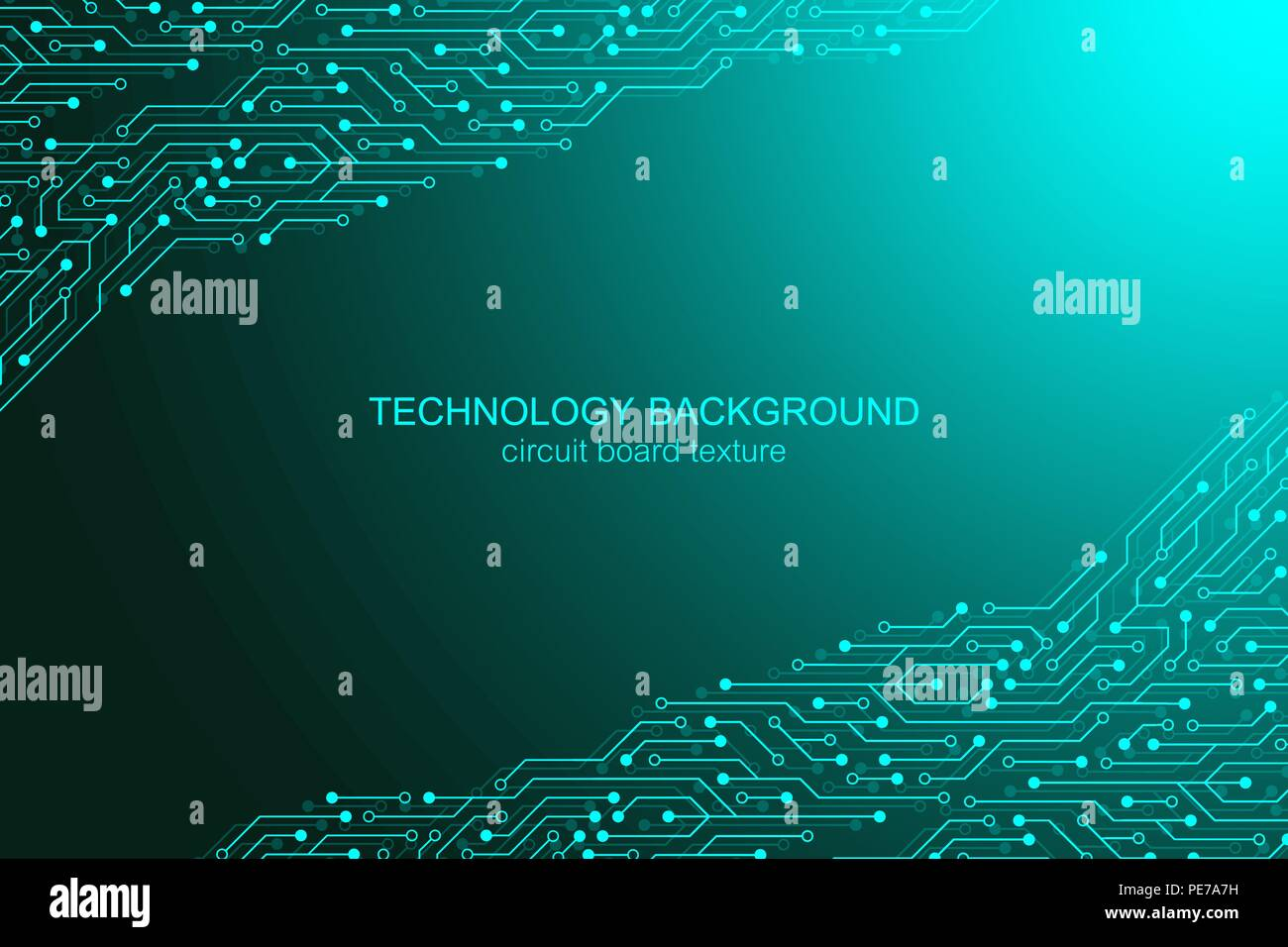 Computer Motherboard Vector Background With Circuit Board Electronic Green Chip Technology Texture Elements For Engineering Concept
