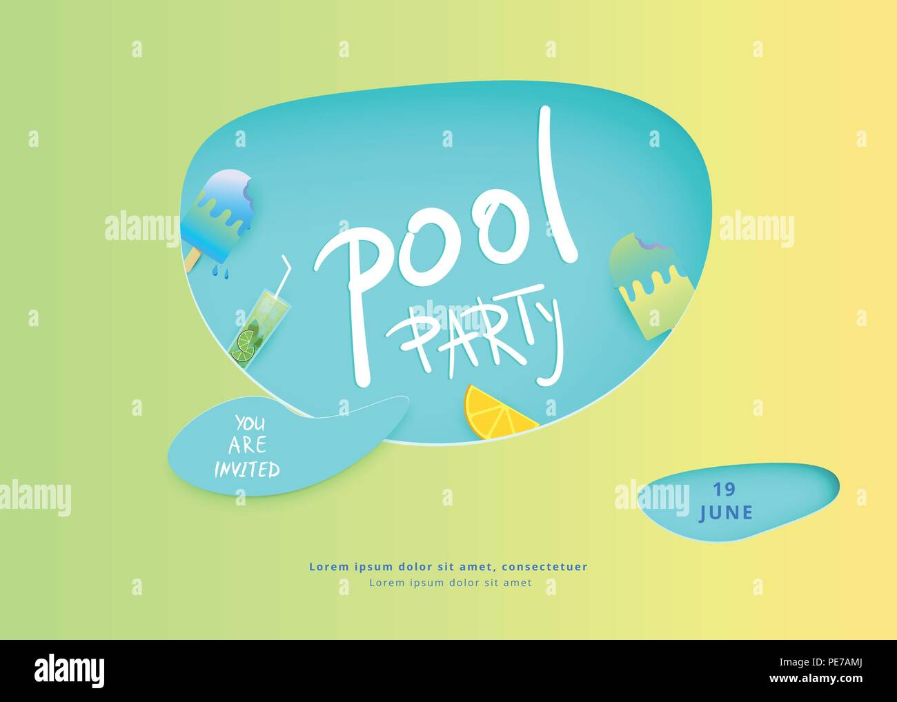 Horizontal Pool Party Banner Template For Holiday Summer Flyer