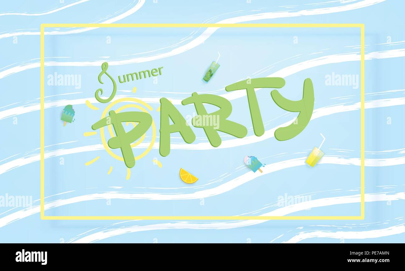 Horizontal Summer Party Banner Template For Holiday Flyer Design