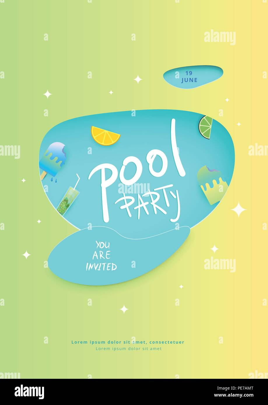 Vertical Pool Party Banner Template For Holiday Summer Flyer Design