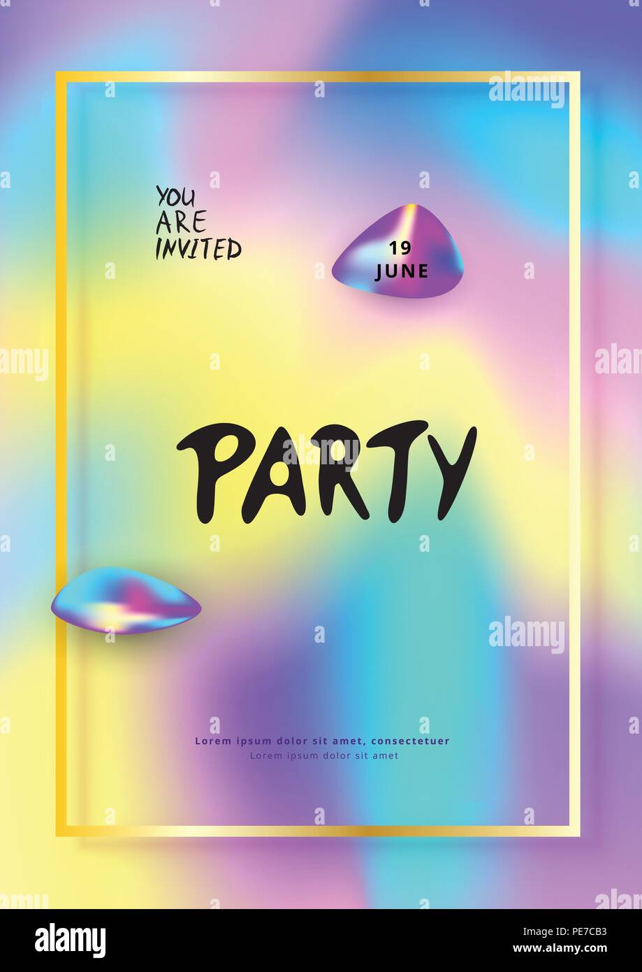 Vertical Party flyer  Holography elements  Template for