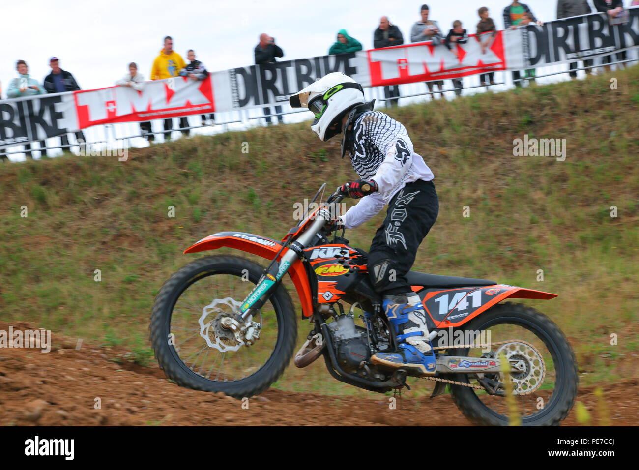 Dirt bike racing at Fat Cat Moto Parc - Stock Image