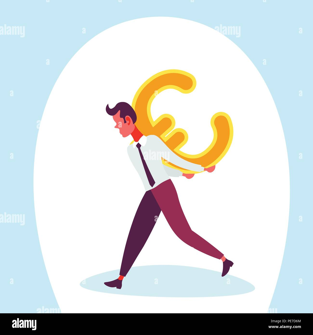 Businessman Carry Back Euro Icon Male Money Exchange Concept Growth