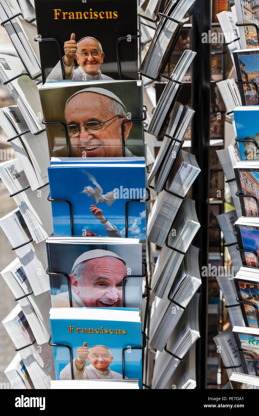 A rack of postcards of Pope Francis in Rome, Italy. - Stock Image