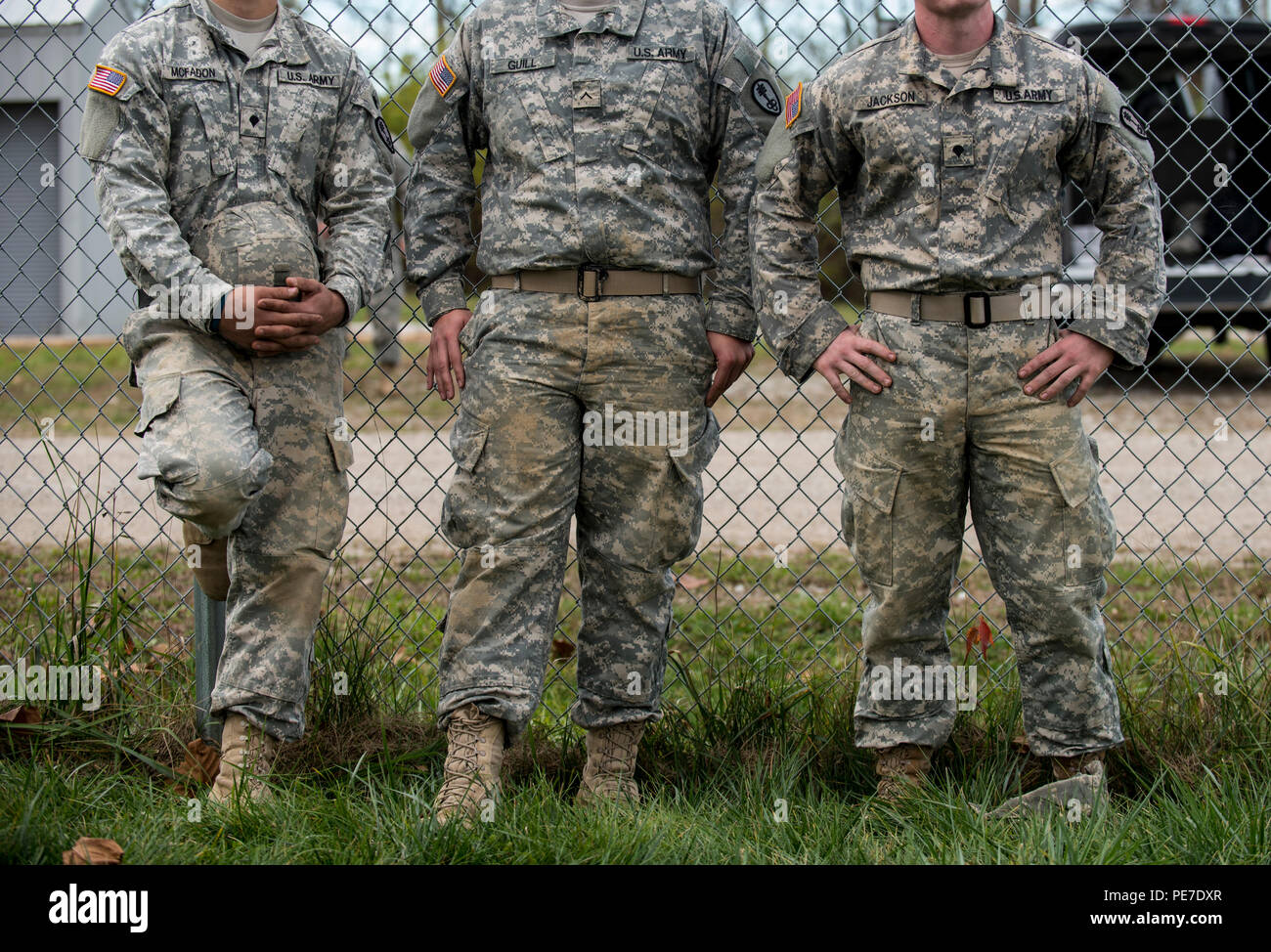 U S Army Reserve Military Police Soldiers From Various Midwest States Watch Fellow Soldiers Rappel Down A