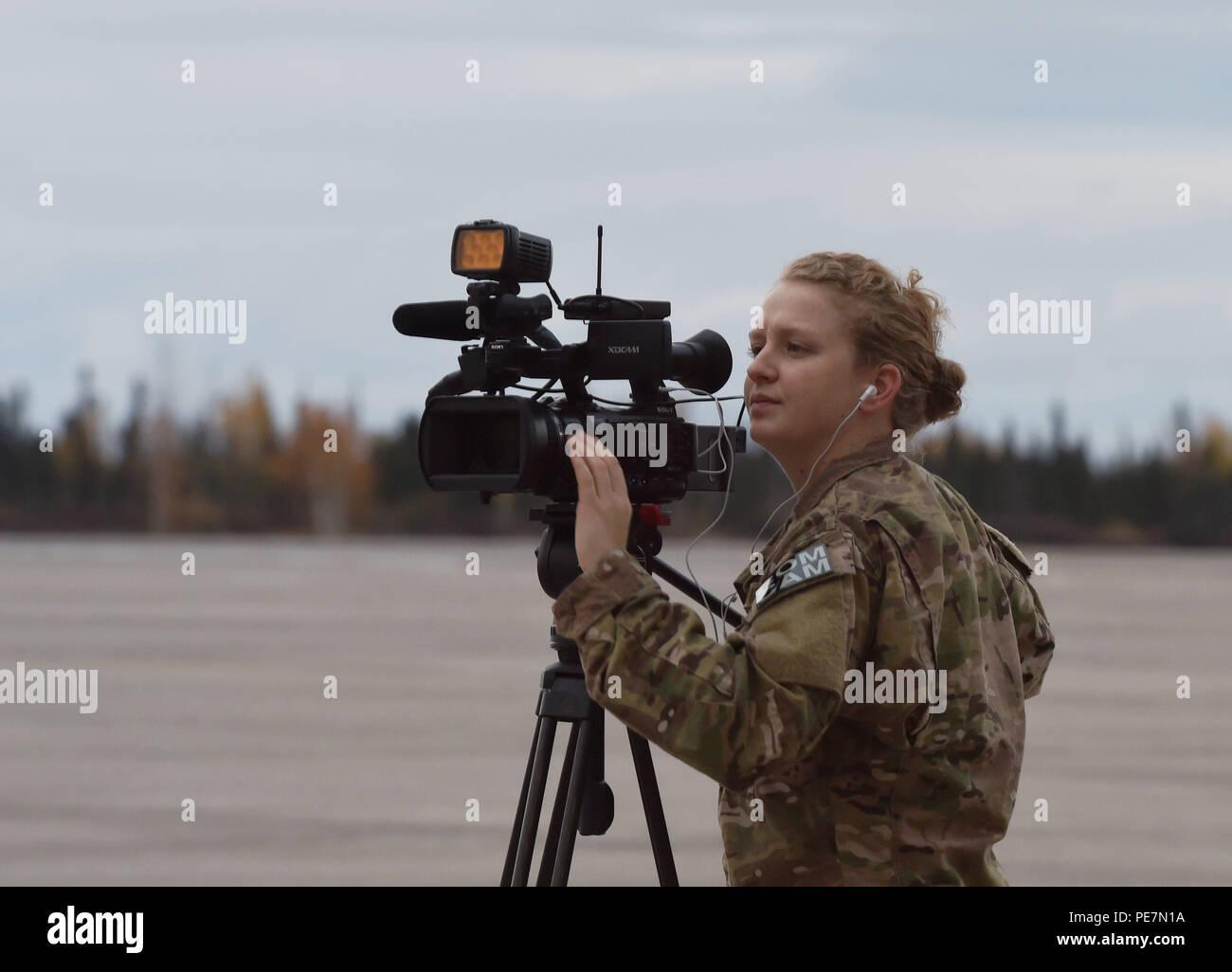 U S  Air Force Staff Sgt  Laura Beckley, combat broadcaster