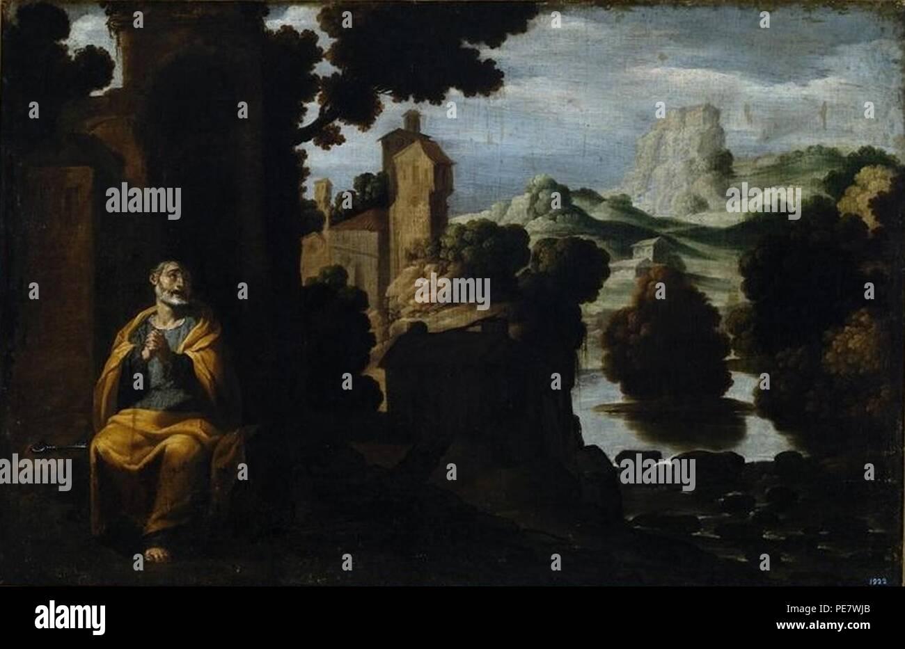 Arrepentimiento de San Pedro de Francisco Collantes (Museo de Bellas Artes de La Coruña). - Stock Image