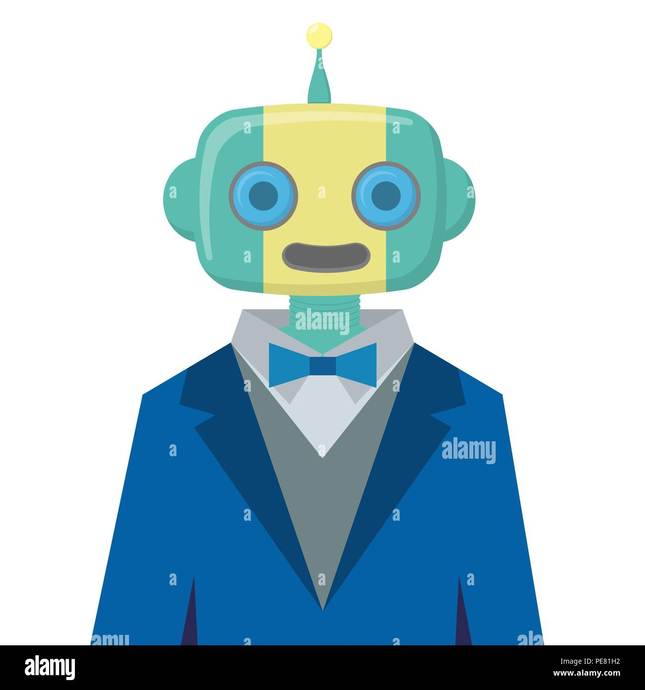 Robot wearing blue suit isolated on white background, artificial intelligence in futuristic technology wallpaper - Stock Image
