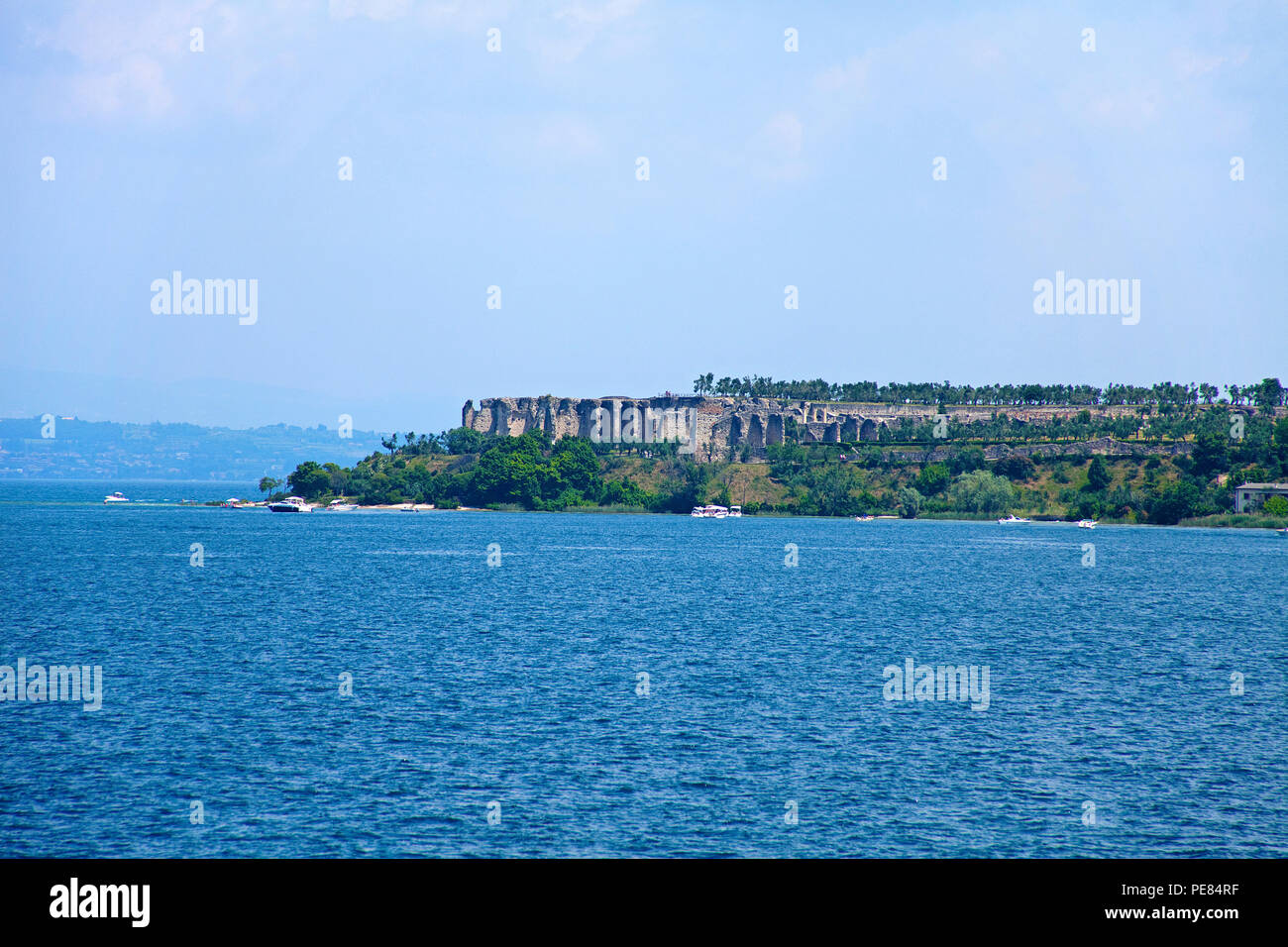 Grotto of Catullus, above ruins of ancient roman villas, Sirmione, Lake Garda, Lombardy, Italy Stock Photo