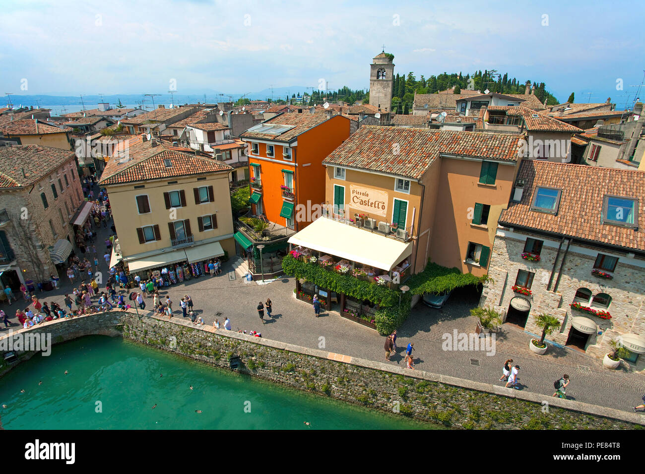 View from Scaliger castle on the old town of Sirmione, Lake Garda, Lombardy, Italy - Stock Image