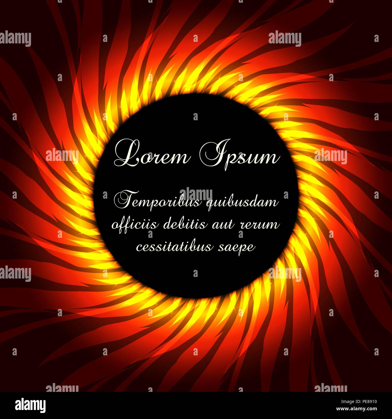 Fire flame frame template with sample text inside. Vector illustration - Stock Image
