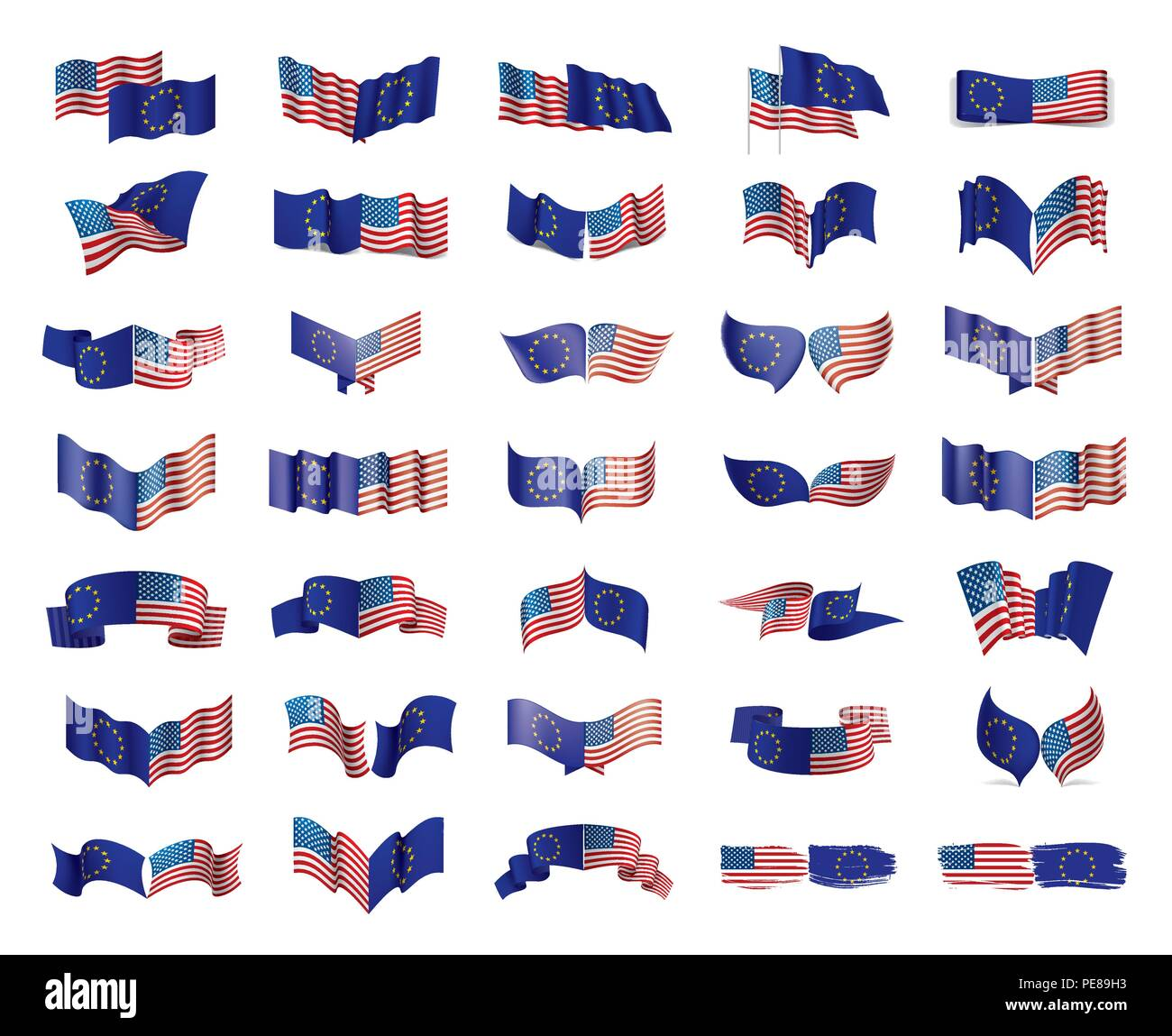 European Union and American flags. Vector illustration. - Stock Image