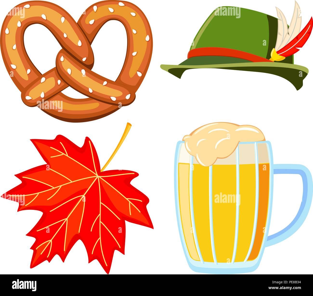 Colorful cartoon oktoberfest 4 elements set - Stock Vector